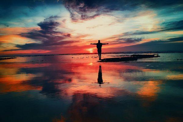 ocean, sunset, person